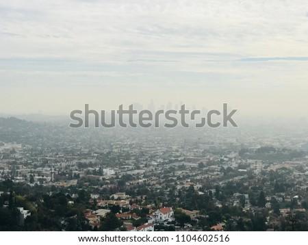 City of Los Angels lost in fog #1104602516