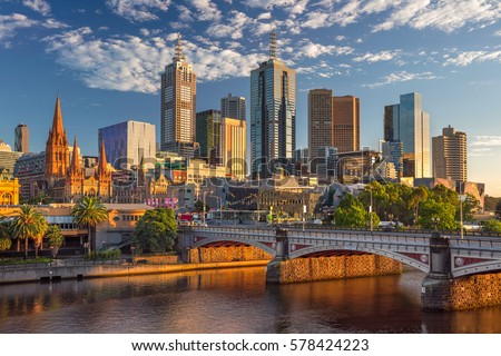 Shutterstock City of Melbourne. Cityscape image of Melbourne, Australia during summer sunrise.