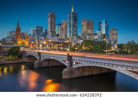 Shutterstock City of Melbourne. Cityscape image of Melbourne, Australia during twilight blue hour.