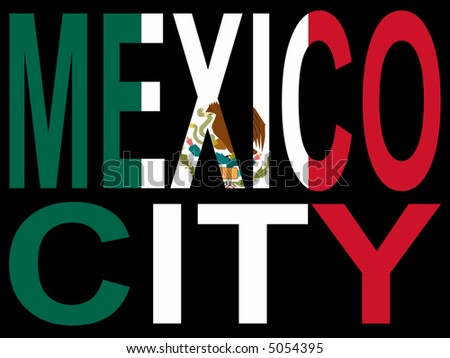 City of Mexico city and Mexican flag illustration JPG