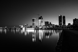 City of Milwaukee Wisconsin at Night black and white photography