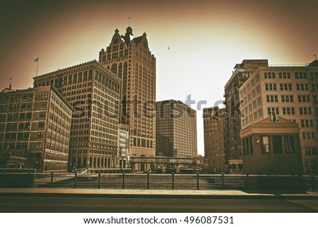 City of Milwaukee Wisconsin, United States. Sepia Color Grading. Downtown Milwaukee.