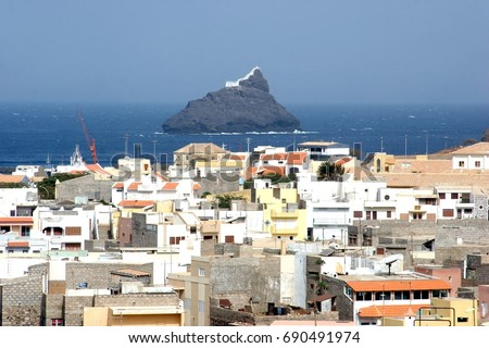 Shutterstock City of Mindelo in Sao Vicente island and the lighthouse on the rock, Cape Verde Archipelago (Republic of Cabo Verde)