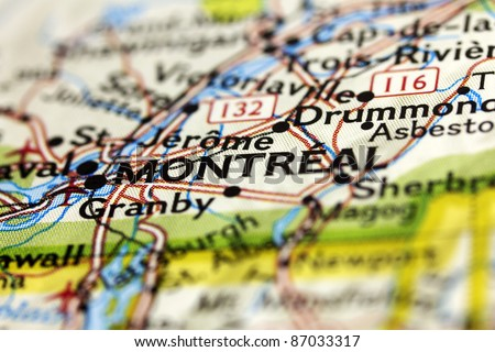 City of Montreal in Canada on the map.