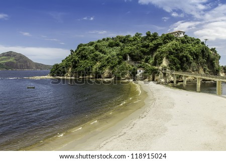 City of Niteroi, Island with a beach against blue sky