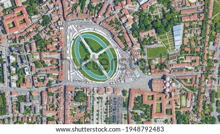 City of Padova Padua, Prato della Valle square looking down aerial view from above, bird's eye view Padova, İtaly Stock fotó ©