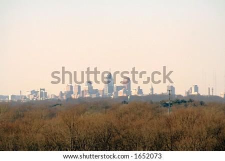 City of Philadelphia at distant horizon.