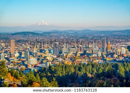 City of Portland Oregon and Mount Hood in Autumn, Oregon-USA