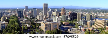 City of Portland Oregon panorama, mt. St. Helen's & mt. Adams in the background