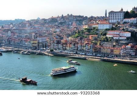 City of Porto and boats in river Douro