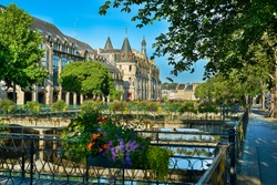 city of quimper with castle in brittany france
