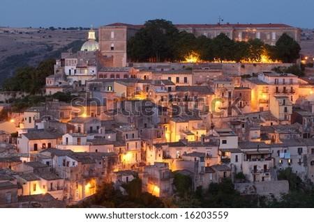 City of Ragusa at dusk, world heritage site