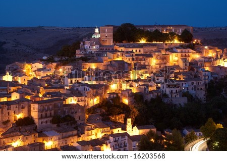 City of Ragusa at dusk, world heritage site