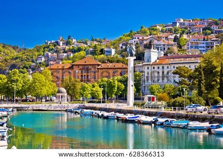 City of Rijeka Delta and trsat view, Kvarner bay, Croatia Foto d'archivio ©