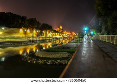 City of rivers at night, Gy?r, Hungary Stock fotó ©