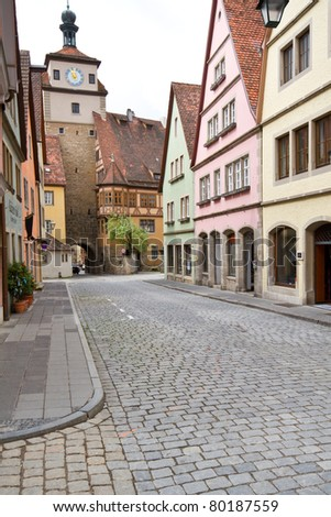 City of Rothenburg with one of the ancient towers