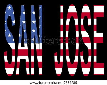 city of San Jose with flag of the United States of America JPG