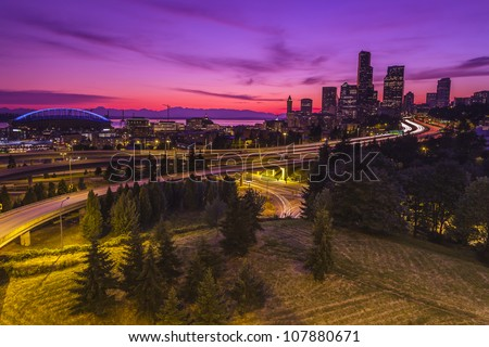 City of Seattle at dusk