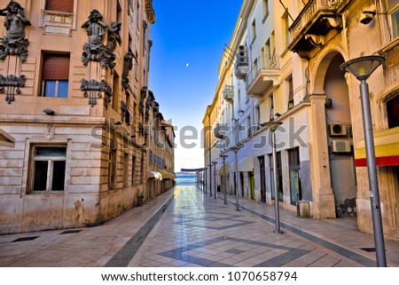 City of Split architecture view in Marmontova street, Dalmatia region of Croatia