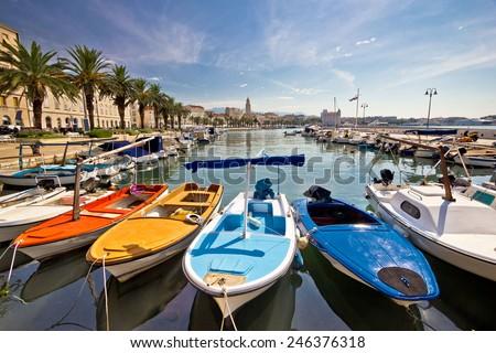 City of Split colorful harbor view, Dalmatia, Croatia