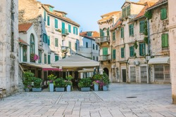 City of Split, Croatia, cafes and shops on an early morning on the Fruit Square in the Diocletians Palace section of Old Town