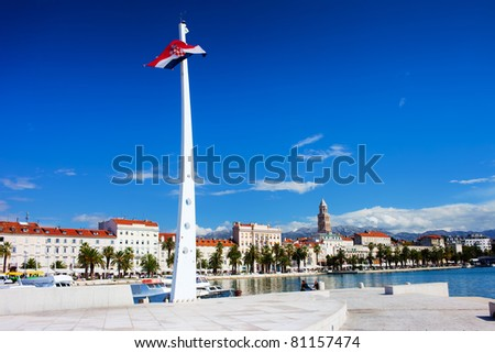 City of Split picturesque scenery and Croatia flag mast at the waterfront promenade