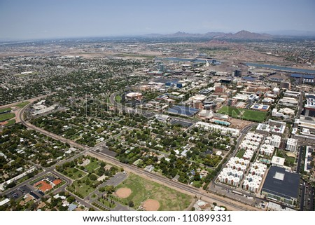City of Tempe and the campus of Arizona State from above