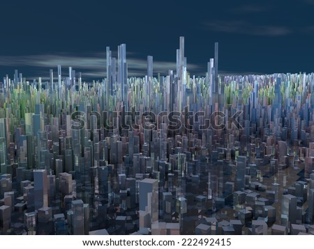 City of the future, skyscrapers, science fiction, abstract