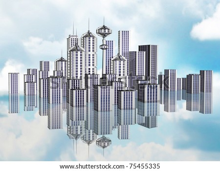 City of the future with high-rise buildings and skyscrapers with reflection against the cloudy high sky