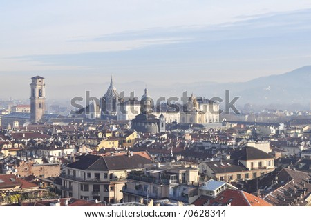 City of Turin (Torino) skyline panorama birdeye seen from above