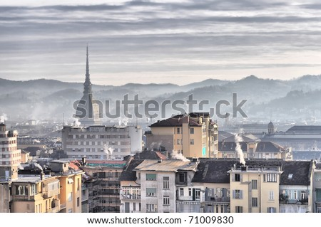 City of Turin (Torino) skyline panorama birdeye seen from above - HDR (High Dynamic Range)