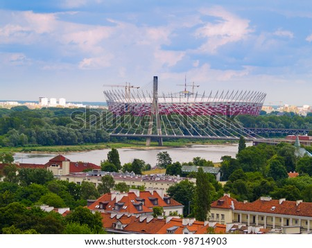 city of Warsaw on Vistula banks, Poland - stock photo