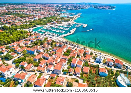City of Zadar waterfront aerial summer view, Dalmatia region of Croatia