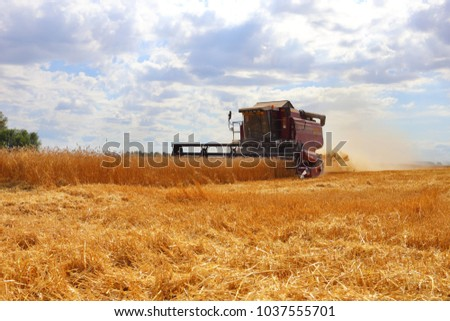 City of Zavodoukovsk, Tyumen Region, Russia, August 20, 2016: Harvester for harvesting bread. Harvest in Siberia for Russia. #1037555701