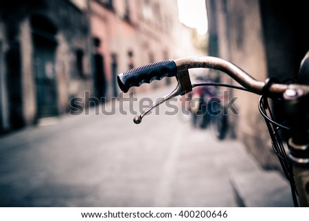 city old bicycle handlebar and...