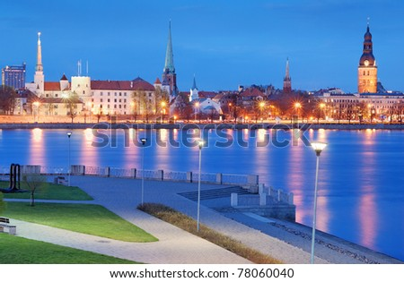 City panorama and quay of Daugava river in Riga, Latvia.