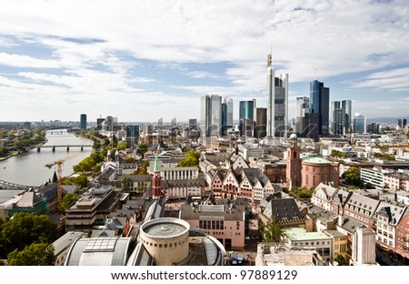 City panorama of Frankfurt with river