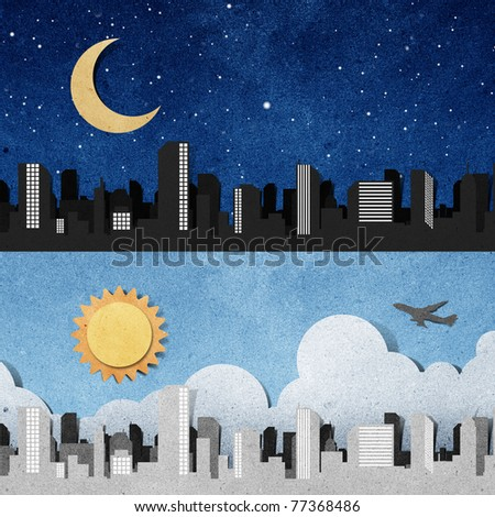 city panorama silhouettes recycled paper craft stick on white background