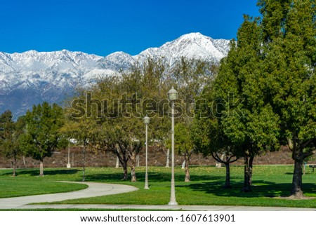City park in Rancho Cucamonga with a view of  snow capped mountains. Сток-фото ©