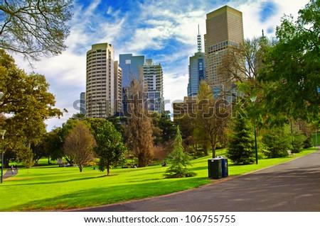 city park in sunny day.Melbourne Australia - stock photo