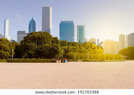 City Park With Chicago Skyline in Background