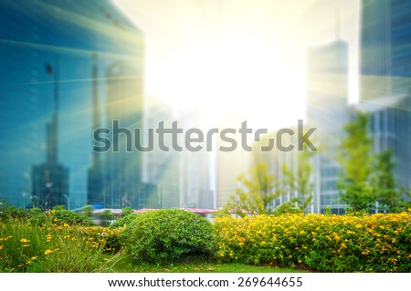 city park with modern building background in shanghai #269644655