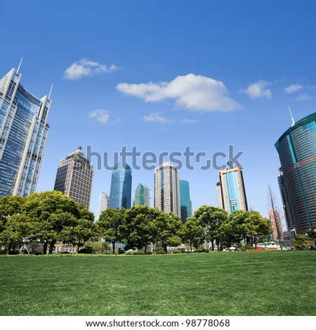 city park with modern building background in shanghai #98778068