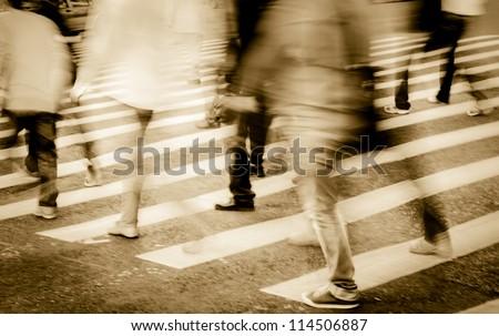 city people crowd on zebra crossing street