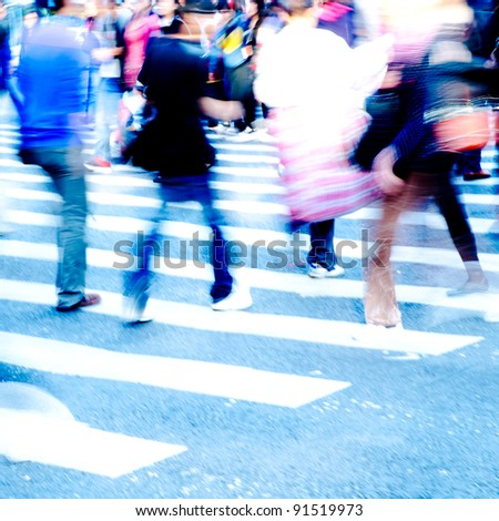 city people crowd on zebra crossing street