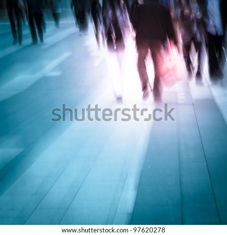 city people on business walking road blur motion