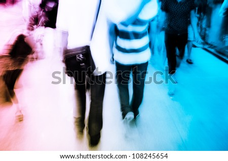 city people on business walking street blur motion abstract