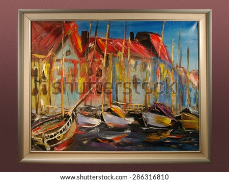 City pier yachts, mooring boats. Contemporary art. Modern abstract painting. Abstract texture oil on canvas