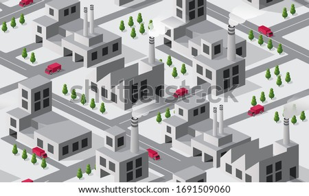 City plant factory industrial isometric urban design elements. Seamless repeating pattern urban