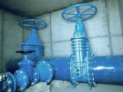 City potable water pipeline in concrete shafts with 500mm Gate valve, 250mm armature  branch.  The drink water service and Water network maintenance.